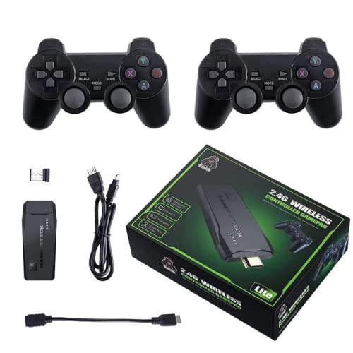 Genérico Consola de Videojuegos Retro 4K HDMI Stick Lite con 2 mandos inalámbricos ,10.000 Juegos, ram 256 MB y 32GB Almacenamiento Ampliable SD