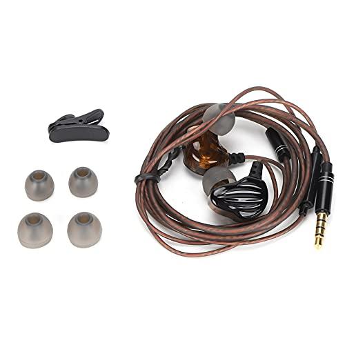 Auriculares con cable, Auriculares con cable, Auriculares HIFI, Auriculares con cable envolventes Redondos Auriculares deportivos con controlador dinámico dual de cuatro núcleos.