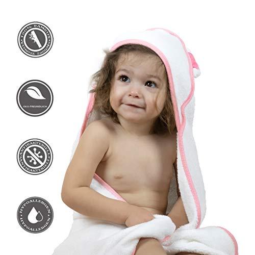 BEBENUI Babyhandtuch mit Kapuze, OEKO-TEX, aus Bambus, weiß, pink, blau, extra groß 90x90 cm, 500GSM, Kapuzenhandtuch Baby mit Ohren, Baby...