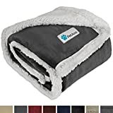 PetAmi Premium Puppy Blanket | Pet Small Dog Blanket for Cats, Kitten | Soft, Warm, Plush, Reversible Fleece Sherpa Throw - 30x40 Inches Charcoal Gray