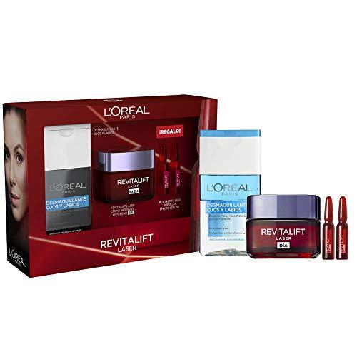 L'Oréal Paris Pack Revitalift Láser, Incluye Crema Intensiva Anti edad de Día, 50ml, Desmaquillante de ojos y labios Waterproof y 2 unidades de Regalo de Ampollas con Ácido Glicólico