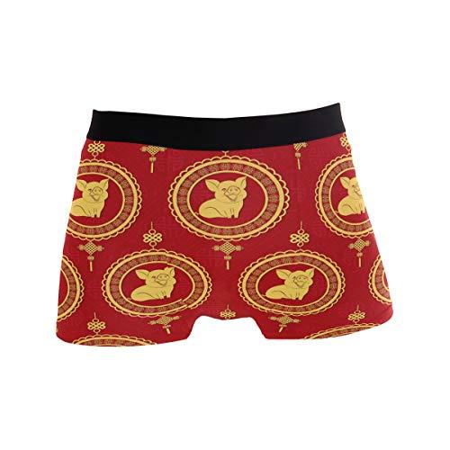 ZZKKO ZKKO Herren Boxershorts Chinesische Schweinchen Happy New Year Atmungsaktiv Stretch Boxershorts mit Tasche S-XL - Rot - Large