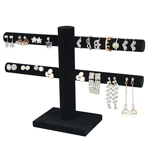 OOSM&H Schmuckständer Hochwertige Flanell Abnehmbare Ohrringe Ohrringe Ständer Schmuckständer Schmuck Requisiten, Schwarz/Weiß,Black