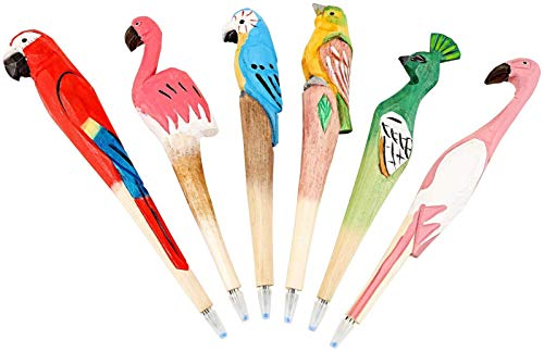 WEIMAY Wooden Birds Pens Hand Carving Gel ink Rollerball Pen, Creative Crafted Ballpoint Pens, Funny Gifts for Children Friends Colleague, Smooth Lines, 6 kinds Bird and 10 Refills