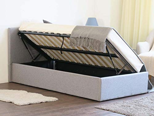 Home Treats Grey Ottoman Storage Bed Side Lift Up Frame With Deluxe Sprung or Foam Mattress (Small Double, No Mattress)