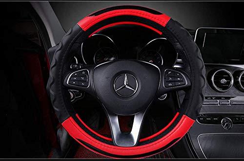 Wsxhb Auto Lenkradbezug Gelochte Breathable PU Universalgröße 37-39 cm (14,5 bis 15,3 Zoll) Lenkräder Fit für Kleinwagen/SUV Etc, Rot, 38 cm,rot,38cm