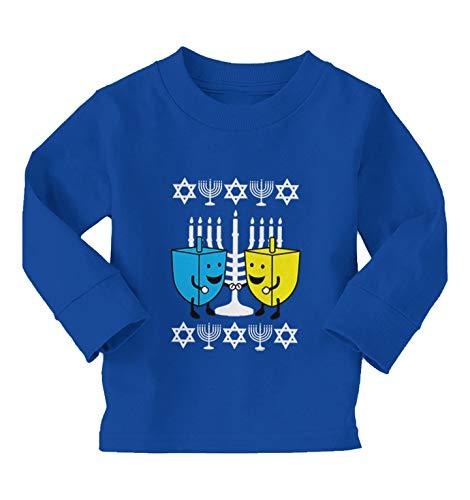 Happy Dreidels - Ugly Hanukkah Sweater Long Sleeve Toddler Cotton Jersey Shirt (Royal Blue, 4T)