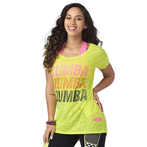 Zumba Burnout Maglia Donna da Allenamento Funzionale Graphic Design da Sportiva Canottiera Tshirt, Caution 1, XS