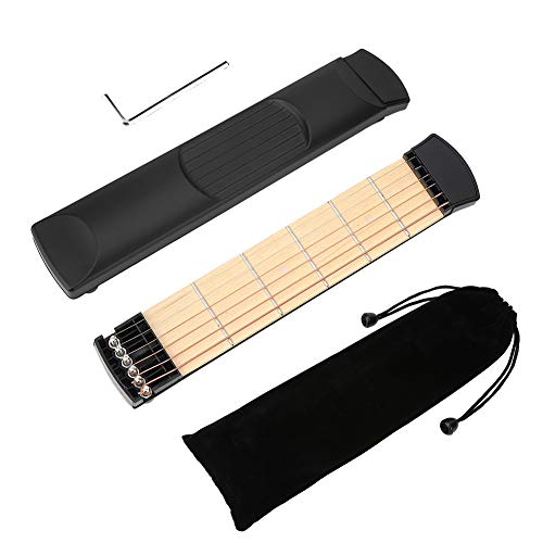 Dilwe Taschengitarre, 6 Fret tragbare Pocket Gitarre Praxis-Tool Gitarre Gadget Chord Trainer für Anfänger Gitarrist Praxistraining, Linke Hand