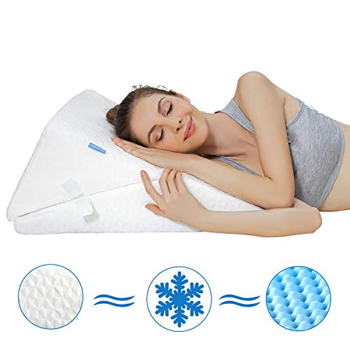 Bed Wedge Pillow,Adjustable 9&12 Inch Wedge Pillow for Sleeping,Folding Memory Foam Incline Cushion System for Legs and Back Support Pillow - Acid Reflux,Reading with Washable Cover
