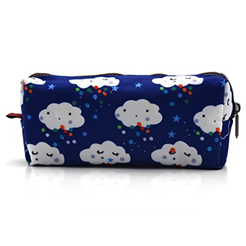 LParkin Kawaii Clouds Large Capacity Canvas Pencil Case Pen Bag Pouch Stationary Case Makeup Cosmetic Bag