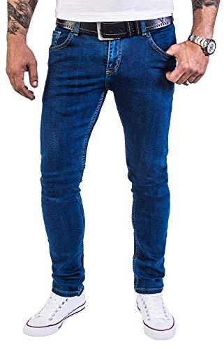 Rock Creek Herren Jeans Hose Regular Slim Stretch Jeans Herrenjeans Herrenhose Denim Stonewashed Basic Stretchhose Raw RC-2139 Blau W33 L34