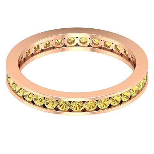 Anillo de boda de eternidad con certificado de citrino redondo de 1,24 quilates, anillo de oro de 14 quilates, anillo de aniversario de piedras preciosas amarillas, 14K Oro rosa, Size:EU 59