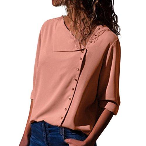 TEBAISE 2018 Ausverkauf Frauen Büro Oktoberfest Party offenen Kragen Elegante Formale Casual Revers Neck T-Shirt Damen Langarm Schnalle Bluse Tops Rosa 42 DE/S CN