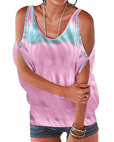 YOINS Damen Tshirt Kurzarm Sommer Bluse Schulterfreie Oberteile Damen Off Shoulder Tops Tie Dye Shirt