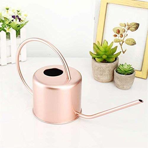 Regadera para sistema de riego, larga, 1300 ml, de metal, de acero inoxidable, para uso privado, flores, botella de agua, mango fácil de usar, color oro rosado