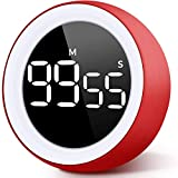 Unzano Countdown Timer for Kids, Large Digital LED & One Button Kitchen Timers, Sets from 0 to 99 Minutes, for Homework, Beauty, Fitness, Cooking (Red)