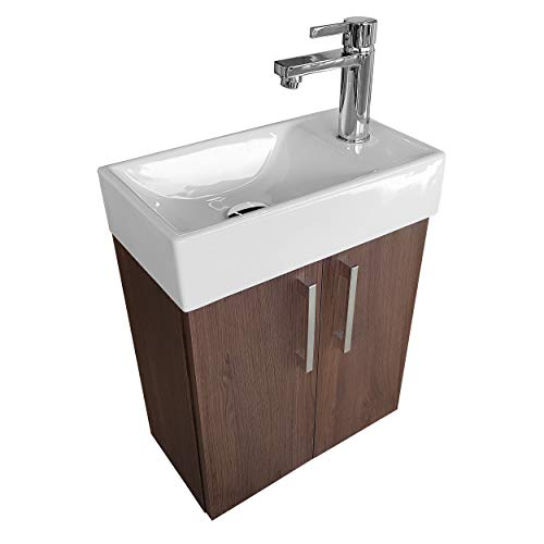 paplinskimoebel Lavabo con armario inferior, mueble de baño, 40 x 22, izquierda/derecha (roble oscuro)