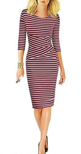 REPHYLLIS Women 3/4 Sleeve Striped Wear to Work Business Cocktail Pencil Dress (Large, Burgundy-Striped)