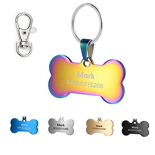 KSZ Etiquetas de identificación para Mascotas de Acero Inoxidable, Etiquetas Personalizadas para Perros y Gatos. Grabado Frontal y Trasero. Múltiples Colores (Colorful, Hueso) ✅