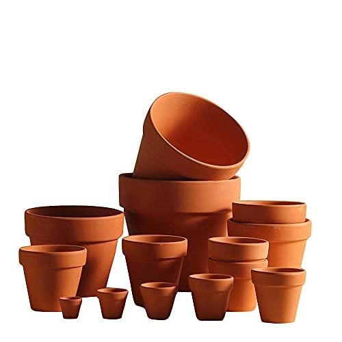 Macetas de terracota, 10 unidades, mini macetas, pequeñas macetas con agujeros, cactus suculentas, para interior y exterior, 6,5 x 6 cm