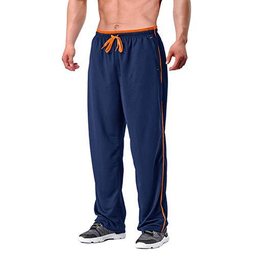 EKLENTSON Herren Schnell Trocknende Hose Yogahose Atmungsaktiv Fit Fußball mit Reißverschlusstaschen Dunkel Blau Orange, XL
