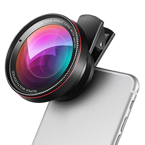 (New) AMIR Smart Phone Camera Lens, 15X Macro Lens for iPhone Lens Kit, 0.6X Super Wide Angle Lens, 2 in 1 Clip-On Cell Phone Camera Lens for iPhone 8, X, 7, 7 Plus, 6s, 6, Samsung, Other Smartphones