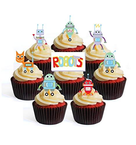 Essbare Cupcake-Topper mit Roboter-Motiv, zum Aufstellen Pack of 24
