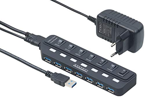 Xystec USB Mehrfachstecker: Aktiver USB-3.0-Hub mit 7 Ports, einzeln schaltbar, 2-A-Netzteil (USB Schalter)