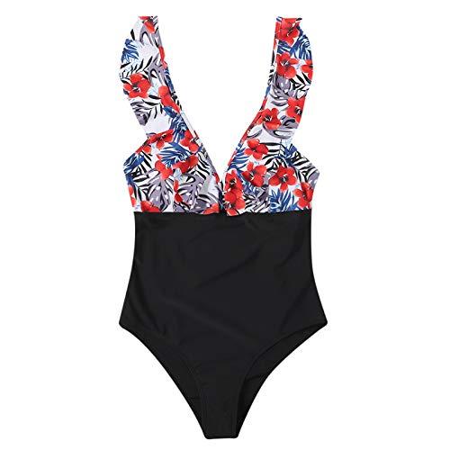 Dicomi Fashion Womens Swimwear Floral Printed Ruffle Color Matching One Piece Bikini Ruffles Swimsuit Red