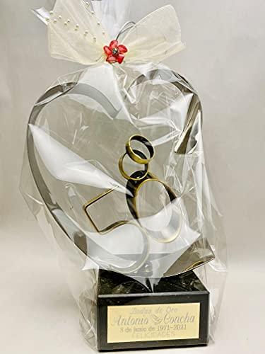 Trofeos Cadenas | Figura del cuore, regalo per il 50 anniversario di matrimonio, trofeo di nozze d'oro, incisione personalizzata inclusa