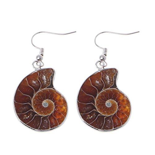 6Wcveuebuc Pendientes colgantes de caracol de amonita natural en espiral con concha de concha de caracol y fósiles colgantes para decoración de fiesta