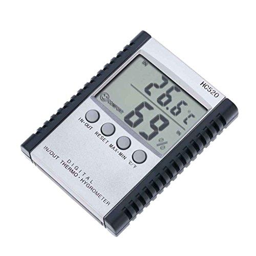 rongweiwang HC520 Digital In/Out-Thermometer-Hygrometer Temperatur- und Feuchtigkeitsmessgerät Digital In/Out-Thermometer-Hygrometer LCD-Wetterstation mit Sensor-Draht