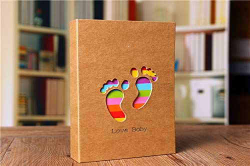 Photo frame 100Pockets 6Inch Baby Souvenirs Growth Memorial Picture Photo Frame Photo Album Baby for Kids Gifts Hand & Footprint Imprint Photo frame (Color : Footprint)