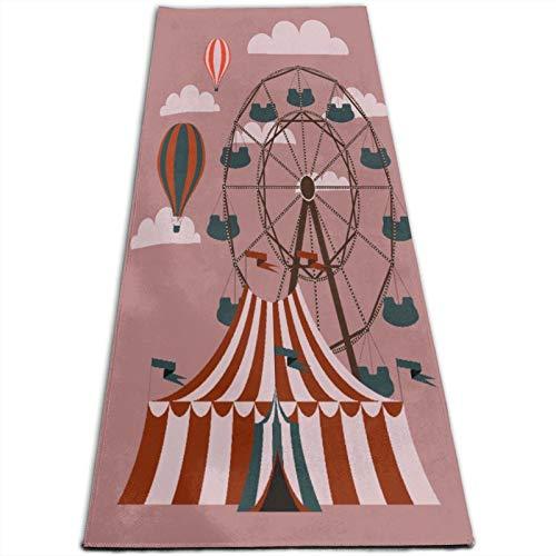 KASABULL Esterilla Yoga Rueda roja Feria retro Circo Carnaval Carpa divertida Festival Vintage Carrusel Colchonetas de ejercicio Pilates para entrenamiento en casa Gimnasio Fitness Meditación Alfombra