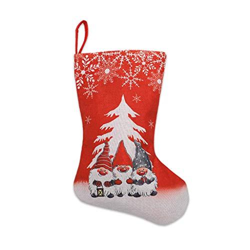 HAINAN Calcetín de Navidad con diseño de copo de nieve y gnomo sueco, para colgar en la chimenea, para árbol de la chimenea, calcetín tradicional para botas de invierno personalizado para mujer