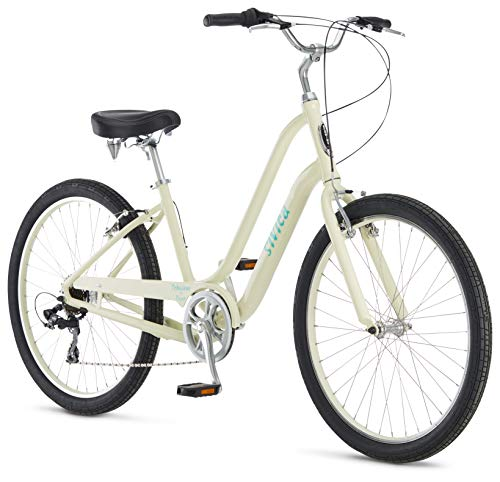 Schwinn Sivica 7 Cruiser Bike for Women with 26-Inch Wheels in Cream, 7-Speed Shimano Drivetrain and Aluminum Step-Through Frame
