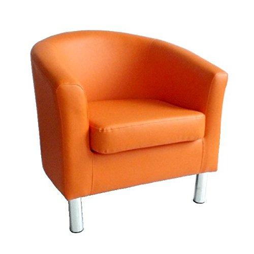 Poltrona moderna in ecopelle, con gambe cromate; per la casa, il salotto, l'ufficio, la reception, color arancione