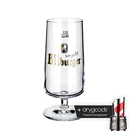 Bitburger Glas/Gläser 0,2l Pokal Bierglas Gastro Bar Deko NEU + anygoods Flaschenausgiesser