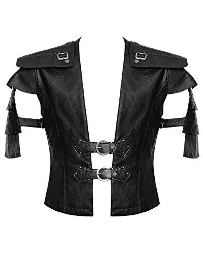 Punk Rave Gilet pour homme en simili cuir noir style gothique steampunk victorien - Noir - S