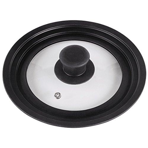 Xavax Couvercle universel (anneau en silicone pour casseroles/poêles de diamètre 16, 18 ou 20 cm, trou de vapeur, design à bords gradués, verre, va lave-vaisselle, peu encombrant) Noir/Transparent