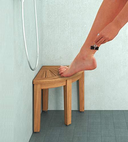 """AquaTeak 12"""" Kai OptiAREA Corner Teak Shaving & Washing Foot Rest"""