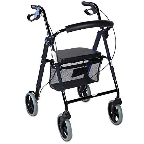 Andador para ancianos, minusválidos, andador para mayores, de aluminio, ligero, cesta, frenos en los puños, plegable, con asiento y 4 ruedas.