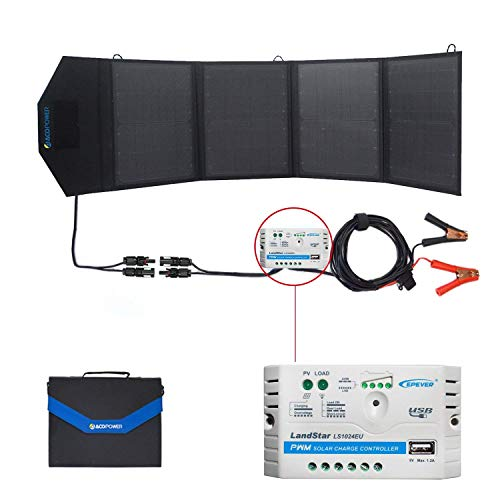 ACOPOWER 12v 50W Solar Charger Waterproof Foldable Camping Solar Panel Kit, 5A Charge Controller with USB Ports