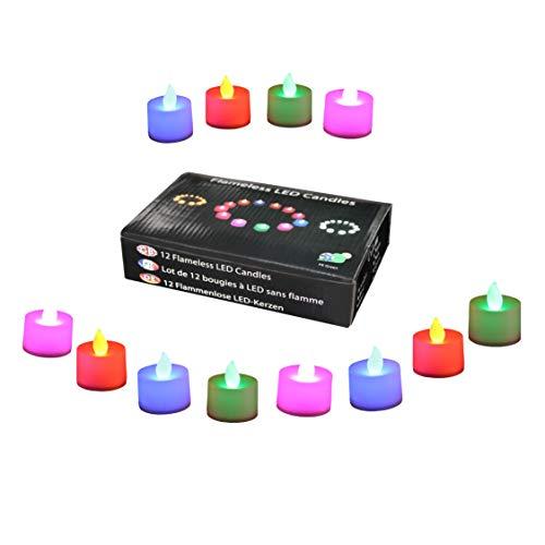 12 LED Teelichter mit Farbwechsel - LED Flammenlose Batterie Kerzen Stimmungslichter Leuchten Votivkerzen von PK Green