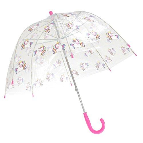 X-Brella Kinder Regenschirm mit Einhorn-Design, Transparent (Kinder) (Einhorn)