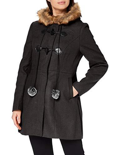 YUMI Grey Duffle Coat with Fur Trim and Pom Manteau Femme, 16