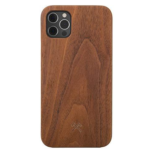 Woodcessories - Hülle kompatibel mit iPhone 12/12 Pro aus Echtholz - EcoHülle Classic (Walnuss/Schwarz)