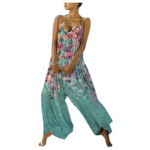 Wilp Damen Jumpsuit Sommer Strand Romper Bedruckte Jumpsuit Elegant Spaghetti Langarmshirt Damen Ärmellos Einteiler Lange Hosen