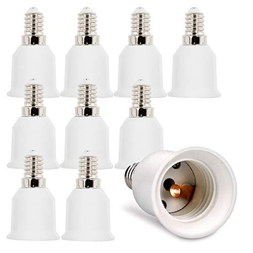 kwmobile 10x Casquillos de lámpara - Adaptador conversor de Montura E14 a Casquillo E27 - Zócalos para lámparas LED halógenas y de Ahorro